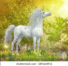 Unicorn Stallion in Meadow 3d illustration - A white Unicorn stallion stands in a meadow full of yellow flowers, Coneflowers and mushrooms.