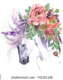 unicorn. watercolor flower bouquet illustration. fantasy background. white horse.