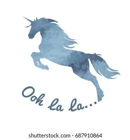 Unicorn. Watercolor, romantic, blue-gray color unicorn silhouette with an Ooh la la inscription on a white background