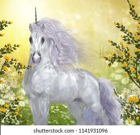 Unicorn White Male 3D illustration - Yellow roses and white daisies surround a beautiful enchanted white unicorn stallion.