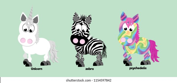 Unicorn, zebra, and psychedelic coloured horse.