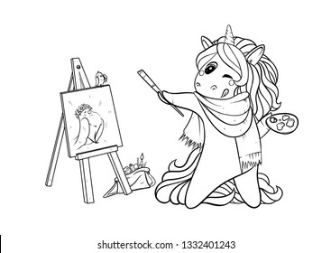 Unicorne is drawing a bird. Artist. Coloring for children