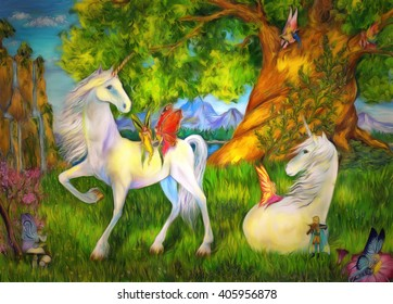 Unicorns and elves among trees, mountains and waterfalls. Fairy tail painting.