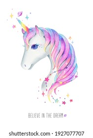 A unicorn's head with rainbow-colored hair. Beautiful watercolor unicorn on a white background. Fantasy poster, postcard, template for printing.