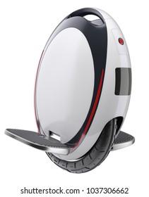 Unicycle (mono-wheel balance vehicle) isolated on white background - 3D illustration