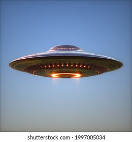 Unidentified flying object, 3D illustration. Science Fiction image concept of ufology. Clipping Path Included.