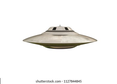 unidentified flying object isolated on white background 3d illustration