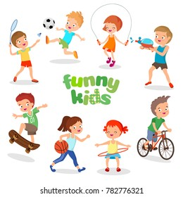 Uniformed happy kids playing sports. Active children characters. Happy kids cartoon, illustration of character sport kids