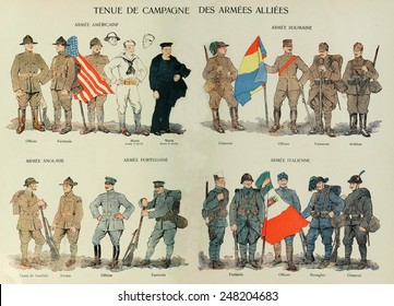 Uniforms of nations allied with France in World War 1. 1914-18. Countries include United State, Romania, Britain, Portugal, and Italy.