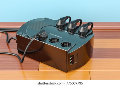 Uninterruptible power supply, UPS with electric plugs on the wooden floor. 3D rendering