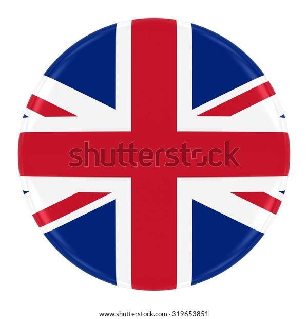 Union Jack Flag Badge - Flag of the United Kingdom Button Isolated on White