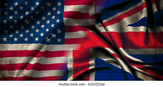 Union Jack flag representing the United Kingdom of Great Britain and the flag of the United States of America