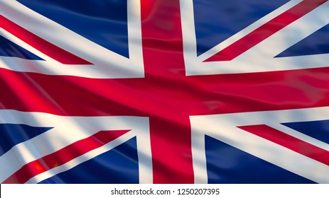 Union Jack waving flag. United Kingdom flag. Red cross on combined red and white saltires with white borders, over dark blue background. 3d illustration
