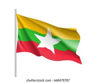 Union of Myanmar or Burma waving flag. Illustration of Asian country flag on flagpole.  3d icon isolated on white background