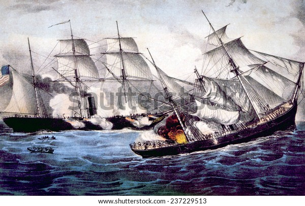 The Union Sloop of War Kearsarge sinking the Confederate ship Alabama, June 19, 1864, lithograph by Currier & Ives, 1864.