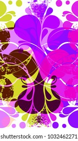 Unique abstract retro pattern with purple and light green various elements