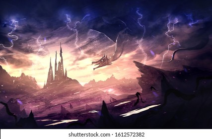 Unique Artistic illustration of a medieval dragon creating lightning while attacking a castle in the middle of mountains