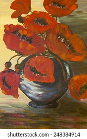 Unique bouquet of poppies  in a vase. Hand painted watercolor painting