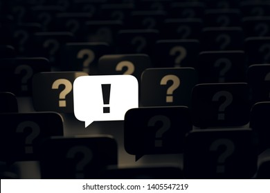 Unique bright luminous speech bubble with exclamation mark sign among dark ones with question marks. Idea generating, problem solving, creative solution concept background. 3D illustration