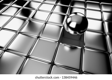Unique, difference, leadership, and individuality concept: one different shiny metal ball standing out in the crowd of steel cubes
