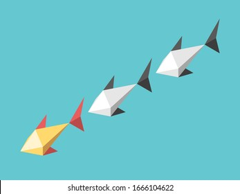 Unique gold leader fish. Leadership, following, motivation, management, teamwork and courage concept. Flat design. 3d illustration. Raster copy