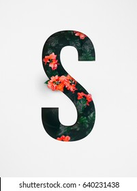 Unique Letter S alphabet made of real blooming flowers and leaves with paper cut. Illustration of floral alphabet collection for design project, poster, card, invitation, brochure and scrapbook