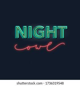 Unique logo night owl for a night club. Night owl 3D lettering illustration for logo design. Night owl sign design.