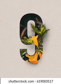 Unique Number nine ; 9 letter alphabet made of real blooming flowers & leaves with paper cut. Illustration of floral alphabet collection for design project, poster, card, brochure ads / advertising