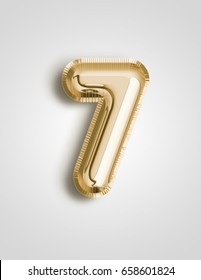 Unique Number seven ; 7 letter alphabet made of realistic 3d Gold helium balloon. Illustration of balloon number collection for your design project decoration element ; Birthday, Wedding, Party