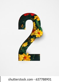 Unique Number two ; 2 letter alphabet made of real blooming flowers & leaves with paper cut. Illustration of floral alphabet collection for design project, poster, birthday card, ads, logo, concept.