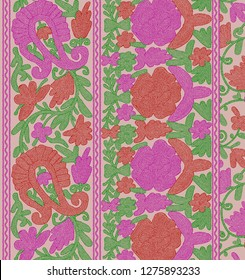 Unique Pashmina Shawl Border, Embroidery Style Print Design For Textile And Digital Print