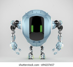 Unique pearl blue tank robot cobot in front view 3d render
