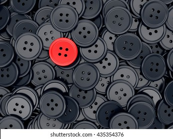Unique red clothing sewing button among many dark ones. Standing out from crowd, individuality and difference concept. 3D illustration