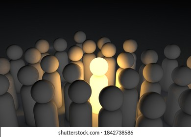 A unique and talented person, among the crowd of the same. Individuality and leadership. 3d render.