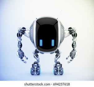 Unique tank robot cobot in front view 3d render