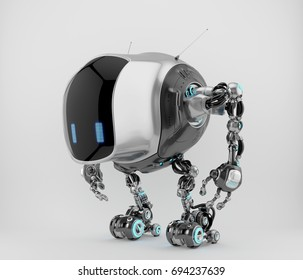 Unique tank robot cobot in side view 3d render