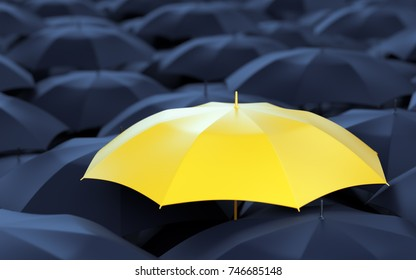Unique yellow umbrella among many dark ones. Standing out from crowd, individuality and difference concept. 3D illustration