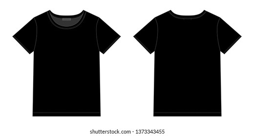 Unisex black t-shirt design template. Front and back . Technical sketch