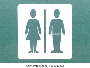 Unisex toilet sign and symbol. Concept photo.