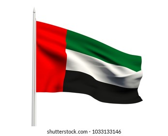 United Arab Emirates flag floating in the wind with a White sky background. 3D illustration.