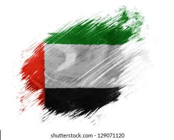 The United Arab Emirates flag  painted with brush on white background