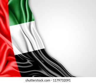 united arab emirates flag of silk with copyspace for your text or images and white background-3D illustration