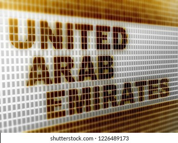 """""""United Arab Emirates"""" in the screen. 3D Illustration."""