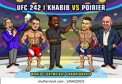United Arab Emirates. September 7, 2019. The Arena, Yas Island in Abu Dhabi. UFC 242. Khabib vs. Poirier. World lightweight championship. Mixed martial arts event.