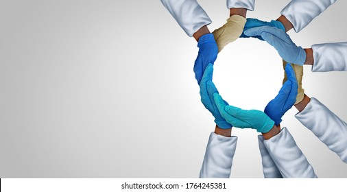 United health system and essential hospital care workers and frontline medical group or medicine teamwork as a group of doctors and nurses joining together unified in a 3D illustration style.