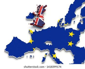 United Kingdom Brexit Europe map. 3D illustration