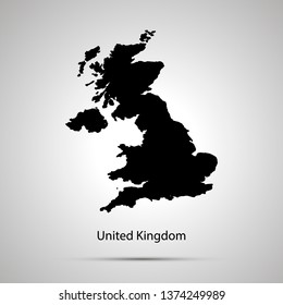 United Kingdom country map, simple black silhouette