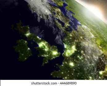 United Kingdom during sunrise as seen from Earth's orbit in space. 3D illustration with highly detailed realistic planet surface, clouds and city lights. Elements of this image furnished by NASA.
