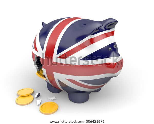 United Kingdom economy and finance concept for GDP and national debt crisis