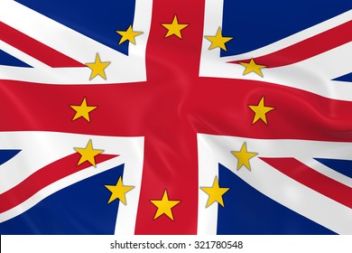 United Kingdom EU Member Concept Image - 3D render of a waving British Flag with European Union Stars